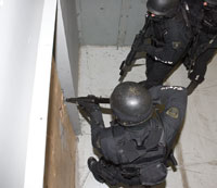 Top View of Shooters using Tactical Breaching door