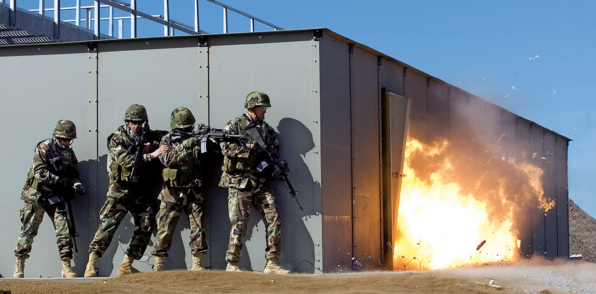 MATCH™ (Modular Armored Tactical Combat House) Live-fire, 360 degree ballistically safe shoot house designed for teaching and observing close-quarter combat skills.